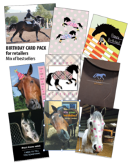 English BIRTHDAY Card Retailer Pack - 25 English and Funny English Horse Birthday Cards - Item # RP-EBDay