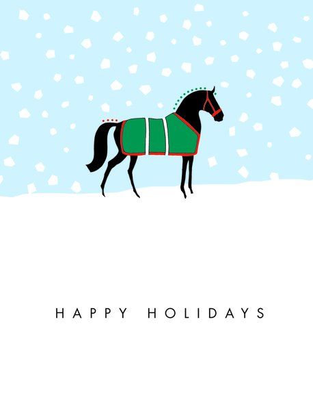 Boxed Christmas Cards Happy Holidays Graphic Horse In Snow It