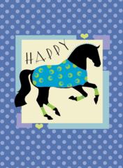 Birthday Card: Blue Happy Dressage Horse Item# GC B B Dressage