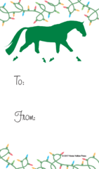 Gift Tag: Green Horse with Wraps & Lights - Item # GT X 27