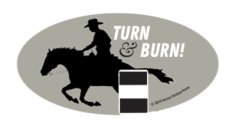 Laptop, Cell Phone & Helmet Sticker: Turn & Burn Barrel Racer - Item # HS T&B