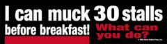 Bumper Sticker: I can muck 30 stalls before breakfast! What can you do? - Item # B I can