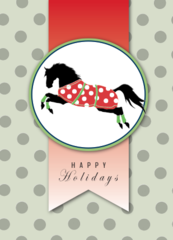 Christmas Card: Galloping Horse with Polka Dots - Item # GC Xmas 1