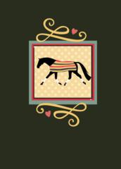 Birthday Card: Newmarket Horse on Linen Item# GC B 3 Newmarket