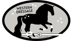 Euro Oval Sticker: Western Dressage with horse - Item # ES WD 2