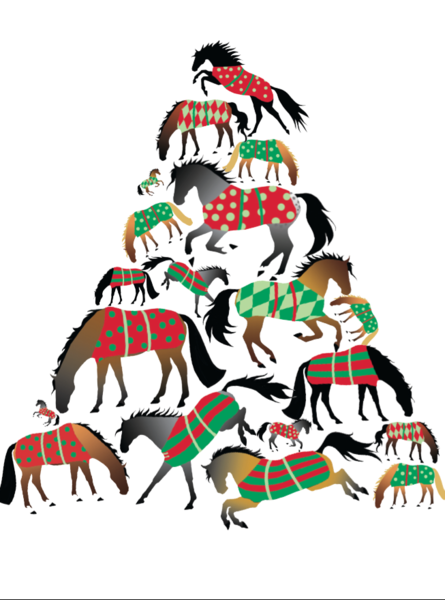 Christmas card a christmas tree of blanketed horses for Christmas tree made out of horseshoes
