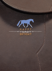 Birthday Card: Happy Birthday with Saddle Background - Item# GC B Leather