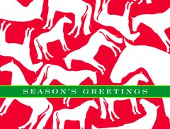 BOXED Christmas Cards: Season's Greetings. Red card with white horses.  - Item # BX R&G