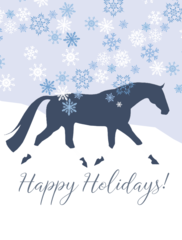 Christmas Card: Blue Snow scene with TB or Warmblood with Wraps - Item# GC X 106