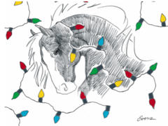 BOXED Christmas Cards: Illustration of a horse wrapped in holiday lights - Item # BX HWL
