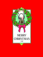 Christmas Card: Horse with Wreath - Item# GC X Wreath