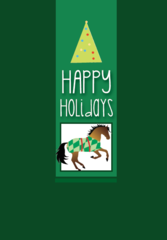 Christmas Card: Green Card with Horse & Blanket - Item# GC X 102