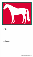 Gift Tags in BULK: White Horse in Red - Item # GT X Red Horse BULK
