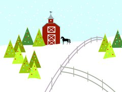 Christmas Card: Horse by Red Barn - Item# GC X Home