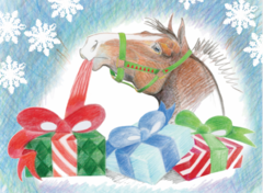 Christmas Card: Horse Unwrapping a Present - Item# GC X 15