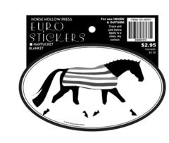Euro Horse Oval Sticker: Horse in Nantucket Blanket - Item # ES 4NTKT