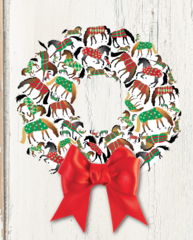 BOXED Christmas Cards: A Christmas Wreath of Blanketed Horses - Item # BX Xmas 18