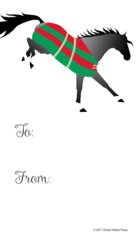Gift Tag: Gray Bucking Horse in Polka Dot Blanket - Item # GT X 201
