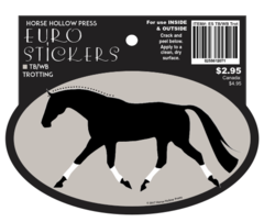 Euro Horse Oval Sticker: Thoroughbred or Warmblood Trotting Out Euro Sticker - Item # ES TBWBTrot