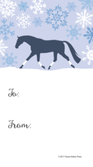 Gift Tags in BULK: Blue Snowy Scene with Trotting Horse White Wraps - Item # GT X 204 BULK