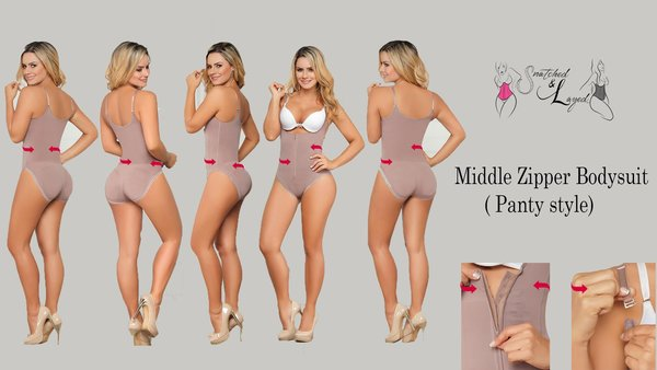 Snatched Middle Zipper Bodysuit (Panty style for seamless and comfortable wear)