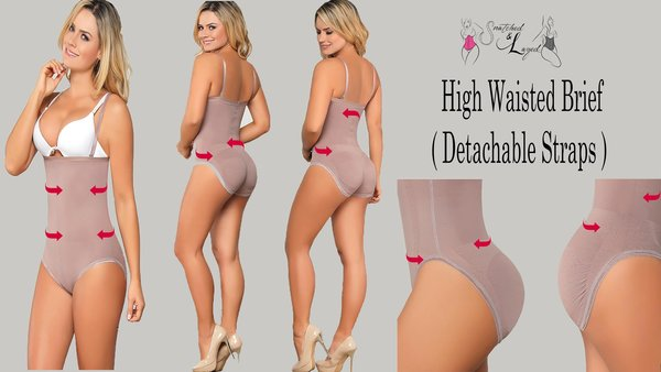 Snatched High Waisted Brief with detachable straps (Latex infused fabric to flatten the tummy while snatching waistline)