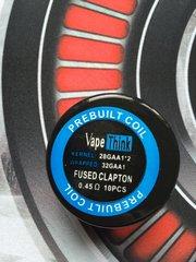 Vape Think Fused Clapton PreMade Coils 28GA x 32GA 0.45Ohm