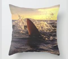 SandBar at Sunrise Pillow Case. The Cambria Home Collection. Shark and Ocean Pillow case