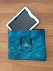 Double Dolphin/Wave  I-Pad or Macbook Air zippered pouch featuring Teahupo'o & Double Dolphins