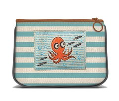 Octopus - Canvas Small Zipper Pouch