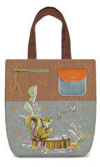 Squirrel Canvas Shoulder Tote