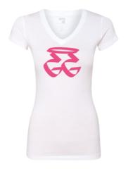 GETGO LADIES V-Neck White (Pink GG)