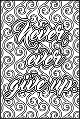 NEW! Never Ever Give Up - XL Flash Card, Color It Fast!