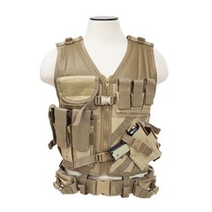 Tactical Vest M-XL Size w/3xMag Pouch, 3xUtility Pouch & Holster - Tan
