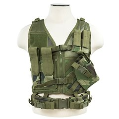 Tactical Vest XS-S Size w/2xMag Pouch, 2xUtility Pouch & Holster - Woodland Camo
