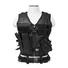Tactical Vest XL-XXL+ Size w/3xMag Pouch, 3xUtility Pouch & Holster - Black
