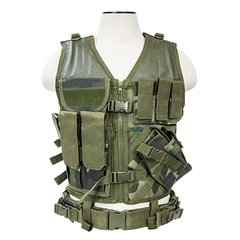 Tactical Vest XL-XXL+ Size w/3xMag Pouch, 3xUtility Pouch & Holster - Woodland Camo