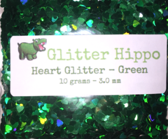 Heart Glitter! - Green (3 mm)