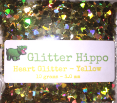 Heart Glitter! - Yellow (3 mm)