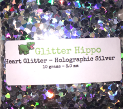 Heart Glitter! - Holographic Silver (3 mm)