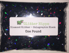 Diamond Glitter! - Holographic Black (2.0 mm) - One Pound