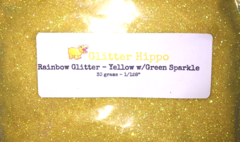 "Rainbow Glitter! - Yellow w/Green Sparkle (1/128"")"