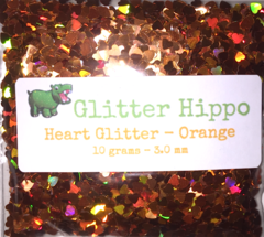 Heart Glitter! - Orange (3 mm)