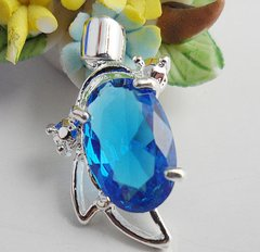 Fancy Silver 12x10mm Oval Bright Blue Crystal Pendant (Chain Not Included)