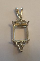 14kt Gold or Sterling Silver Emerald Six Accented Pendant Setting (10x8-18x13mm)