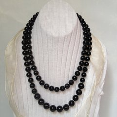 Double Strands Necklace, Black Glass Pearl Necklace.