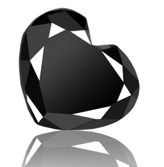 HEART FACETED AAA RATED BRIGHT BLACK CUBIC ZIRCONIA (3x3mm - 15x15mm)