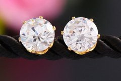 Fancy Crystal Gold Colored Alloy Stud Earrings