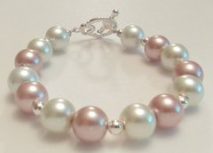 Creamy White and Golden Brown Imitation Pearl Beaded Bracelet with Antique Ornate Toggle Clasp