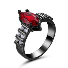 10kt Black Gold Filled Bright Red Marquise Cubic Zirconia Ring Size 5.5